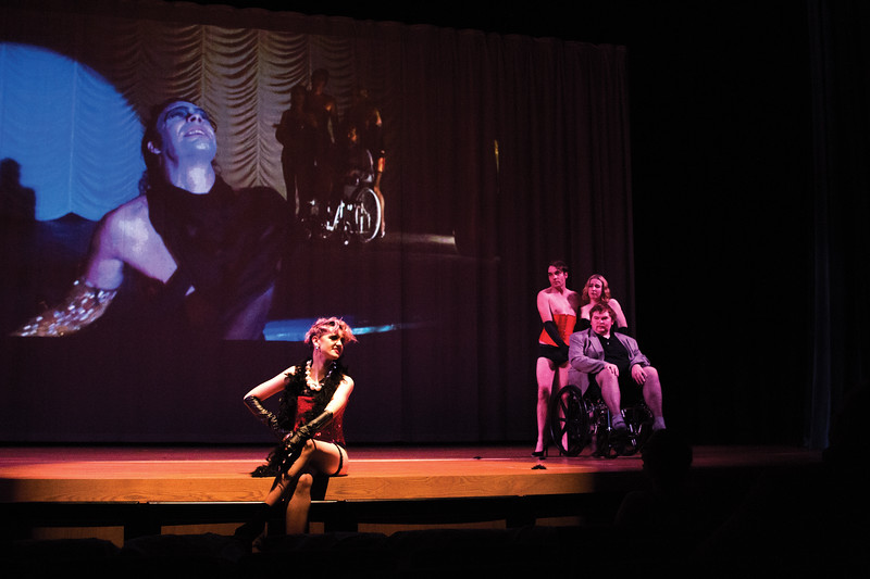"""Matthew Gaston   The Sheridan Press<br>From left, Marcel Bohlmann, Jeffery Johnathin, Victoria Waterhouse and David Britton during the dress rehearsal for Christen MacGuire's production of the """"Rocky Horror Picture Show,"""" at Sheridan College Tuesday, Oct. 23, 2018."""
