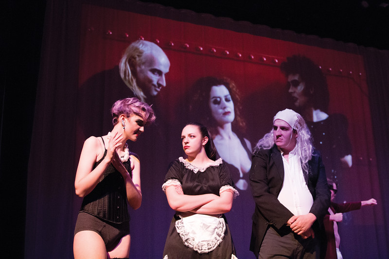 """Matthew Gaston   The Sheridan Press<br>From right, Riff Raff, Magenta and Dr. Fraken-N-Furter played by Levi-Lucas Shumaker, Nicolette Krumberger and Marcel Bohlmann respectively are the """"Rocky Horror Picture Show's"""" transsexual Transalvanians Tuesday, Oct. 23, 2018."""
