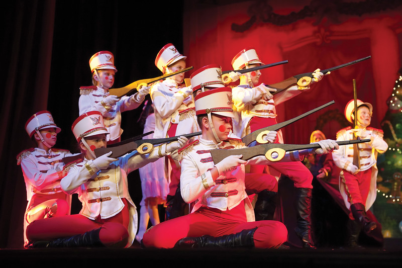 """Matthew Gaston   The Sheridan Press<br>Toy soilders prepare to do battle with evil mice during the dress rehearsal for the San Diego Ballet's production of """"The Nutcracker"""" at the WYO Performing Arts and Education Center Wednesday, Dec. 4, 2019."""
