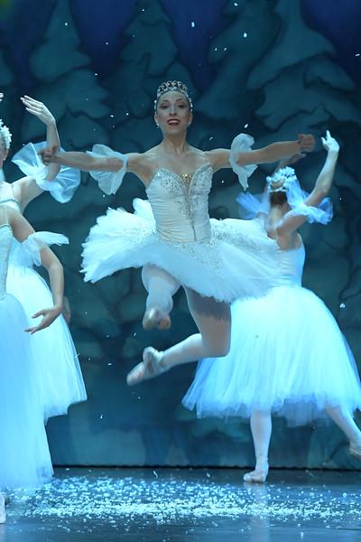"Matthew Gaston   The Sheridan Press<br>Ballerina Zoe Marinello-Kohn leaps through the air as the Snow Queen during the dress rehearsal for ""The Nutcracker"" Wednesday, Dec. 4, 2019."
