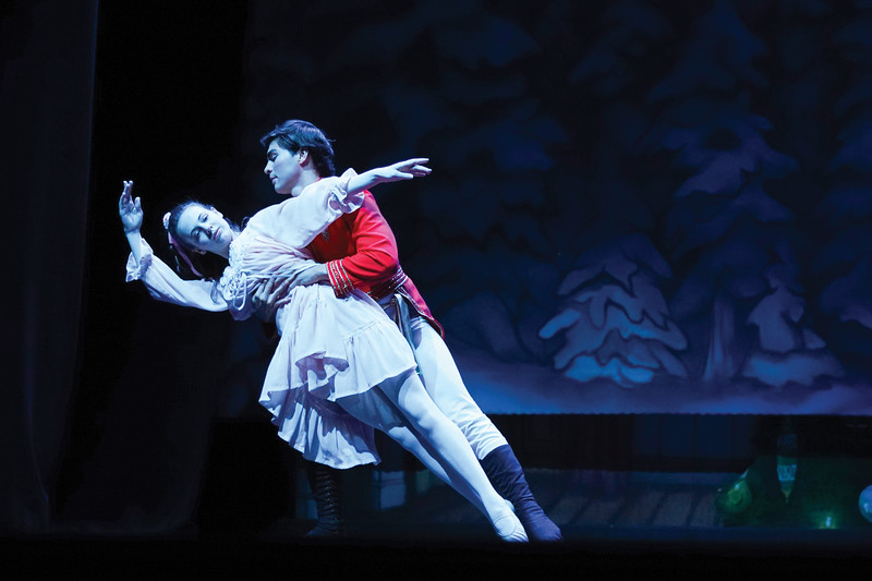 """Matthew Gaston   The Sheridan Press<br>Clara and the Cavalier, played by Sheridan local Abigail Coonis and the San Diego Ballet's Tonatiuh Gomez, dance in a snow covered meadow during the dress rehearsal for """"The Nutcracker"""" at the WYO Performing Arts and Education Center Wednesday, Dec. 4, 2019."""