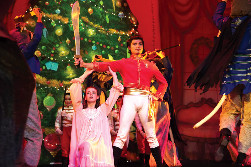 """Matthew Gaston   The Sheridan Press<br>Tonatuih Gomez as the Cavalier stands ready to defend Abigail Coonis as Clara from the King Rat and his horde during """"The Nutcracker"""" Wednesday, Dec. 4, 2019."""