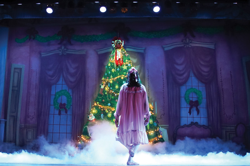 """Matthew Gaston   The Sheridan Press<br>Clara, played by Abigail Coonis, slowly backs away as the family Christmas tree is spirited away and replaced by an army of mice during the dress rehearsal for """"The Nutcracker"""" Wednesday, Dec. 4, 2019."""