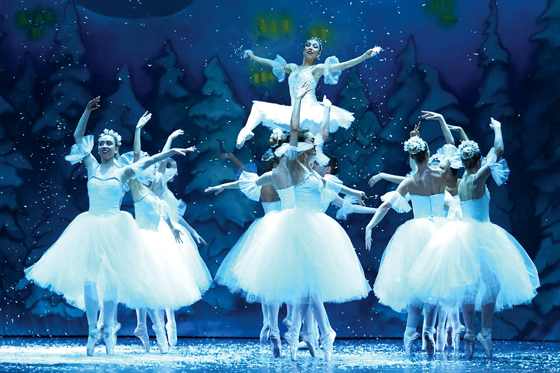 """Matthew Gaston   The Sheridan Press<br>Snowflakes flitter around the Snow Queen, played by Zoe Marinello-Kohn, during the dress rehearsal for the San Diego Ballet's production of """"The Nutcracker"""" at the WYO Performing Arts and Education Center Wednesday, Dec. 5, 2019."""