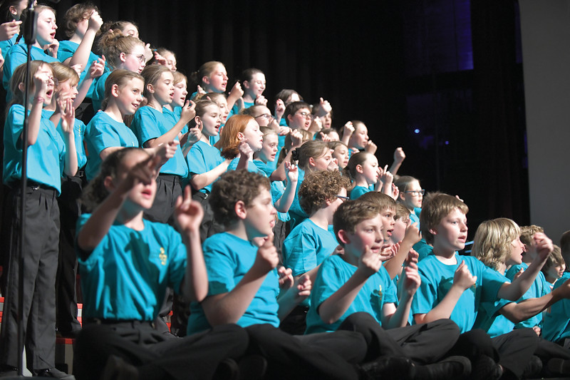 Matthew Gaston | The Sheridan Press<br>The Sheridan County Children's Chorale rehearses the final number for the recital at the WYO Performing Arts and Education Center Wednesday, May 15, 2019.