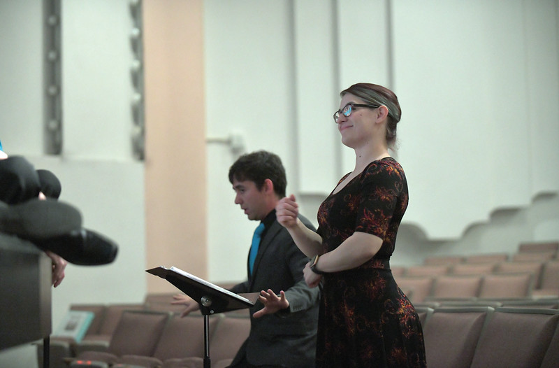 Matthew Gaston | The Sheridan Press<br>Tyler Rogers and Stephanie Zukowski lead the Sheridan County Children's Chorale through a rehearsal at the WYO Performing Arts and Education Center Wednesday, May 15, 2019.
