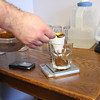 The exact same amount of each coffee is measured by weight for all the coffees.  Each taster receives a single new cup.
