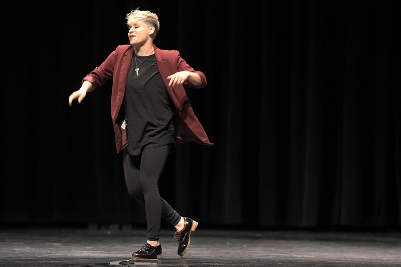 Matthew Gaston | The Sheridan Press<br>Tapestry Dance Company's Andrea Torres dances during a performance at Sheridan High School Thursday, April 18, 2019.