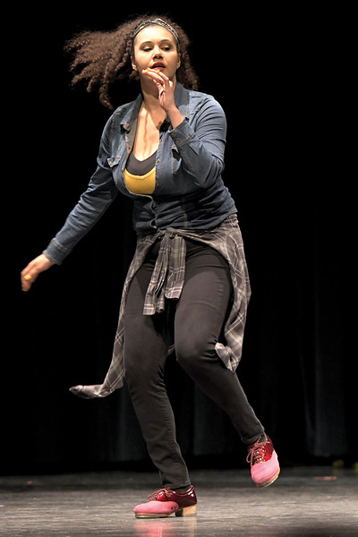Matthew Gaston | The Sheridan Press<br>Siobhan Alexis of the Tapestry Dance Company does a solo tap dance during a performance at Sheridan High School Thursday, April 18, 2019.