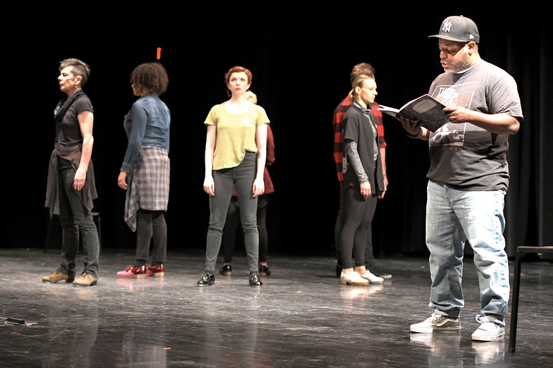 Matthew Gaston | The Sheridan Press<br>Award-winning slam poet Zell Miller III paints a vivid picture of each member of the Tapestry Dance Company during the intro for a performance at Sheridan High School Thursday, April 18, 2019.