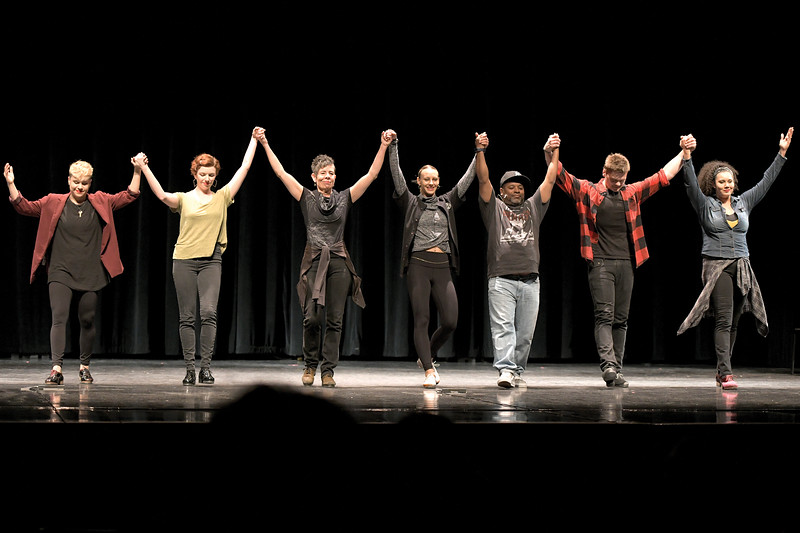 Matthew Gaston | The Sheridan Press<br>The Tapestry Dance Company, from left, Andrea Torres, Madeleine Owens, Acia Grey, Avalon Rathgeb, Zell Miller III, Jesse Berry and Siobhan Alexis take a bow after a performance at Sheridan High School Thursday, April 18, 2019.