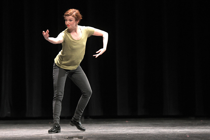 Matthew Gaston | The Sheridan Press<br>Tapestry Dance Company's Madeleine Owens smiles during a playful solo during a performance at Sheridan High School Thursday, April 18, 2019.