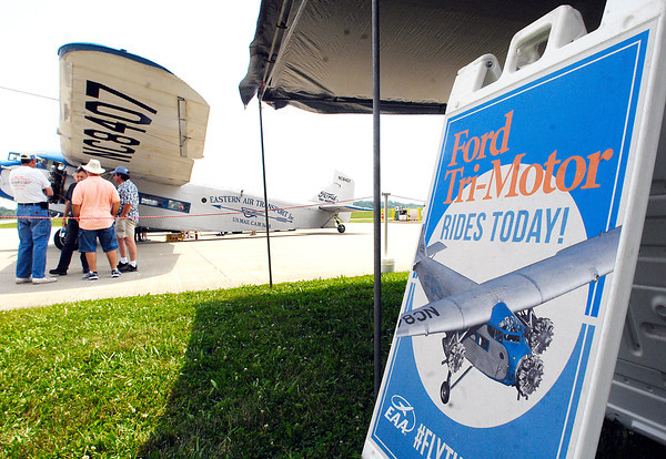 John P. Cleary   The Herald Bulletin<br /> Historic 1929 Ford Tri-Motor airplane flies into Anderson Municipal Airport.