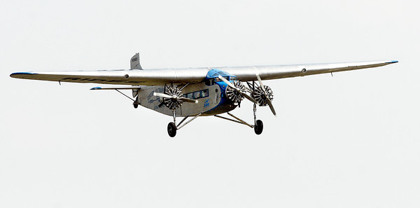 John P. Cleary | The Herald Bulletin<br /> An historic 1929 Ford Tri-Motor airplane flies into Anderson Municipal Airport Monday for a three-day stay to offer rides in the first commercial passenger airliner.