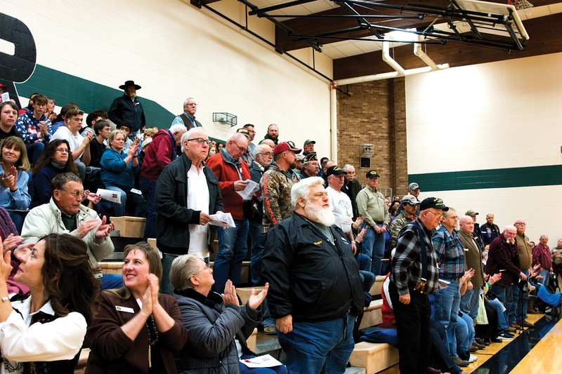Matthew Gaston | The Sheridan Press<br>United States veterans receive a round of applause in recognition of their service at Tongue River Middle School during the Veterans Day Assembly Thursday, Nov. 8, 2018.