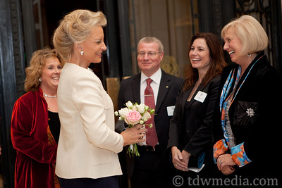 Jean Rowcliffe-Executive DIrector of The Village Well and Princess Michael of Kent greeting Julian Evans, British Counsel General, Gayle Evans, and Daryl Nelson