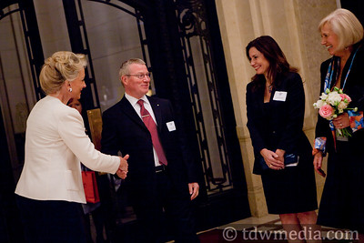 Princess Michael of Kent greeting Julian Evans, British Counsel General, Gayle Evans, and Daryl Nelson