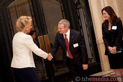 Princess Michael of Kent greeting Julian Evans, British Counsel General and Gayle Evans