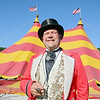 Chris Connors the Ring Master for the Cole Bros. Circus stands in front of the big top as it was put up on Friday morning. SENTINEL & ENTERPRISE/JOHN LOVE