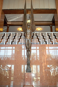 """Atrium figure sculpture """"Genius In Flight"""" by artist Benjamin Victor can be seen in the Reynolds Hall main atrium at The Smith Center for the Performing Arts in this photograph in downtown Las Vegas in this photograph by Mark Bowers."""