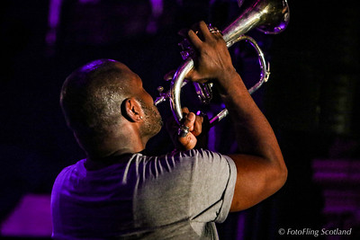 Anton Stephans blows his trumpet