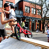 "Zander Ziemba, 2, decides that mom, Kaile, is a  better option than the bike ramp during the Boulder Ciclovia on Sunday.<br /> Boulder Green Streets and the City of Boulder  put on the third annual Boulder Ciclovia on Sunday.<br /> For more photos and a video of the Boulder Ciclovia, go to  <a href=""http://www.dailycamera.com"">http://www.dailycamera.com</a>.<br /> Cliff Grassmick  / September 16, 2012"