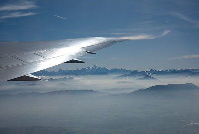 Hazy morning over Geneva with a view on the Mont Blanc.