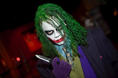 Joker from Batman in a very great costume in this picture.