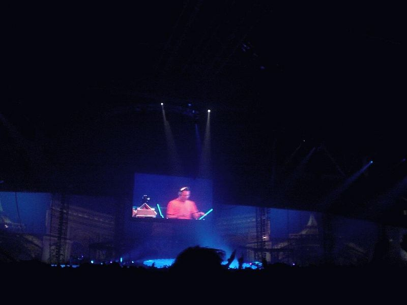 Big screen showed a mix of video footage, images and either a performer or Tiësto (such as here)