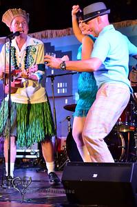 King Kukulele MCing on the main stage at Tiki Oasis with Baby-Doe von Stroheim and Otto von Stroheim