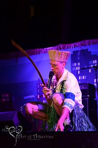 King Kukulele MCing on the main stage at Tiki Oasis