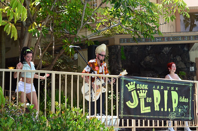 Jason Lee & The R.I.P. Tides playing the pool on Friday at Tiki Oasis.