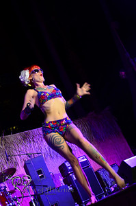 Retro Diva Fashion Show on the main stage at Tiki Oasis on Friday night. Tata the Tattooed Lady