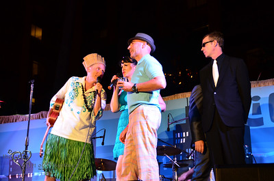King Kukulele MCing on the main stage at Tiki Oasis with Baby-Doe von Stroheim and Otto von Stroheim