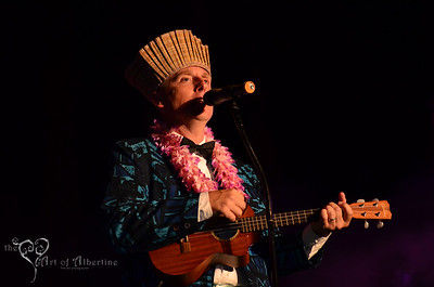 The Love Me Nots performing on the main stage at Tiki Oasis on Friday night. King Kukulele presenting