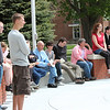 Those attending the Chadron State College Centennial Time Capsule Dedication Ceremony listen as Con Marshall delivers the event's keynote address. (Photo by Justin Haag)
