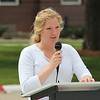 Tiffani Roelle, the Chadron State College Centennial Time Capsule committee coordinator, speaks during the item's dedication ceremony April 26. (Photo by Justin Haag)