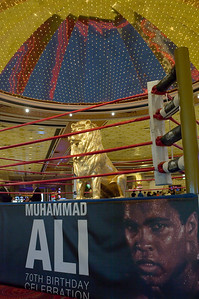 Get in the ring with MGM's Golden lion and Muhammad Ali pictured inside lobby at MGM Grand Las Vegas from Mark Bowers of ReallyVegasPhoto.