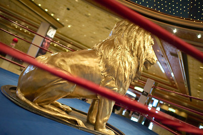 Get in the ring with MGM's Golden lion picture inside lobby at MGM Grand Las Vegas from Mark Bowers of ReallyVegasPhoto.