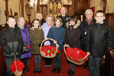 01 NOV 2018 – L-R: Finley Ross, Mrs. Enid Godfrey, Megan Grosevnor, Mrs. Dale Cheesman (RBL Harwich), Mrs Jean Craig, Fletcher Green, Andy Wells (RBL Harwich), Mia Hart, Rev Canon Margaret Shaw and Luke Twinn -   Named Poppy Planting - All Saints' School at All Saints' Church, Dovercourt  - Photo Copyright © Maria Fowler 2018