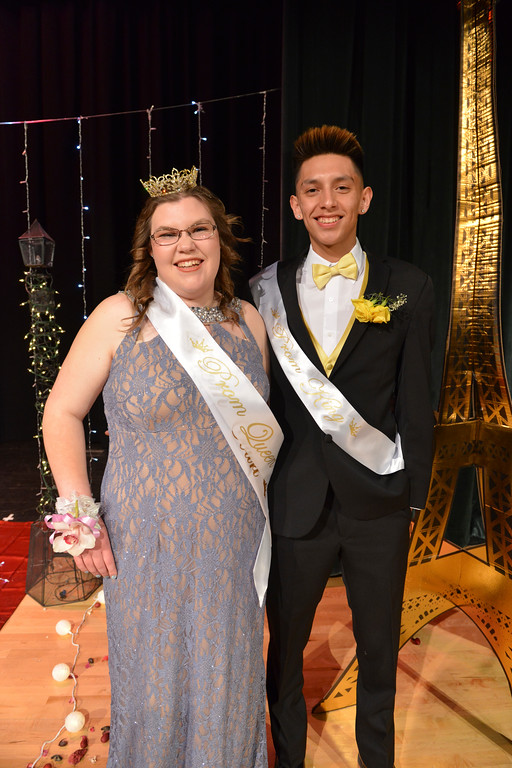 Justin Sheely | The Sheridan Press<br /> Prom queen, Kayla Stimpson and prom king Jay Keo pose for pictures at Tongue River High School Saturday, April 7, 2018.