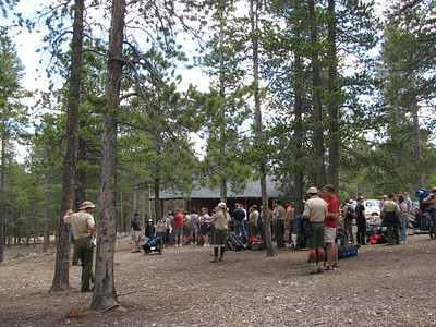 Check in line at the Boy Scout Camp