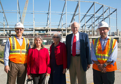 Bob Vecera, Nancy Clark, Carol Lienhard, John Lienhard, and a site manager.