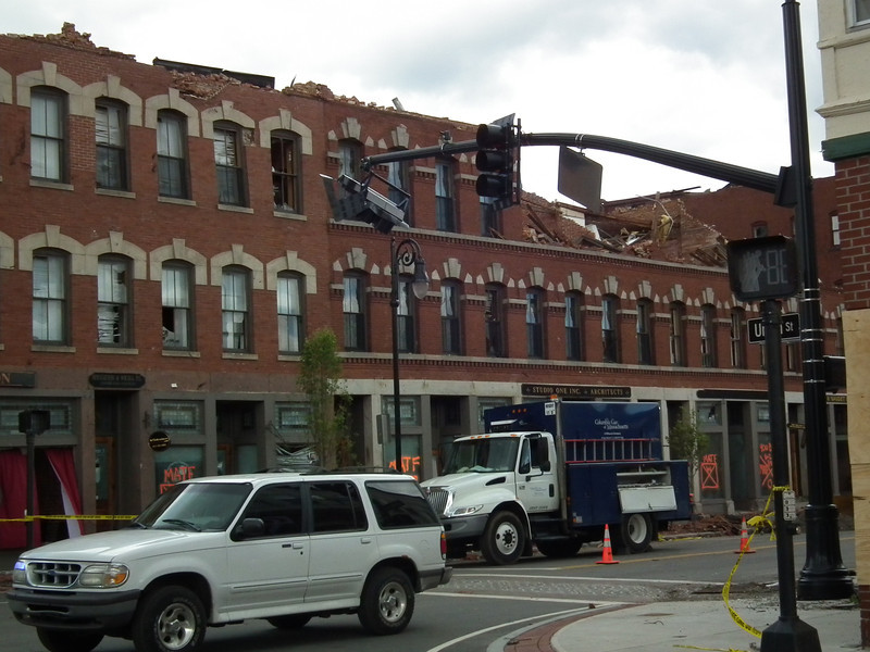 Five story building leveled to three