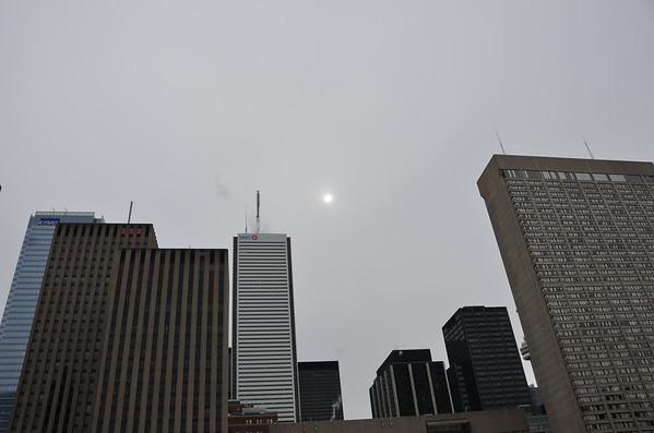 An appropriately eerie Toronto sky.
