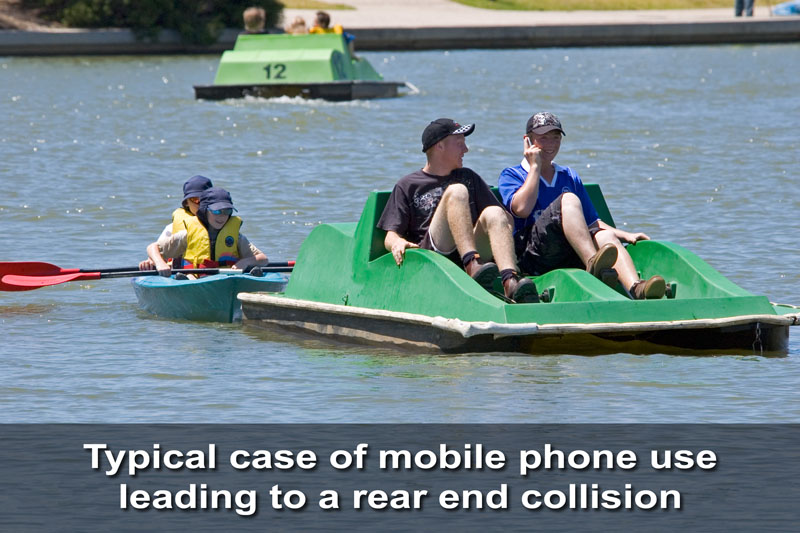 Typical case of mobile phone use leading to a rear end collision