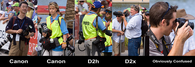 The different cameras being used.
