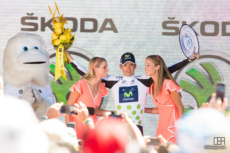 Winner of the Skoda King of the Mountain jersey, Javier Moreno, of the Movistar Team