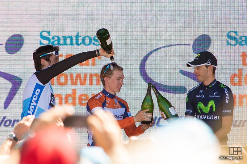Tom-Jelte Slagter (Blanco Pro Cycling Team), Geraint Thomas (Sky Procycling) and Javier Moreno (Movistar Team)