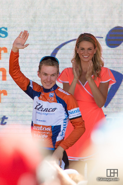 The winner of the 2013 Tour Down Under, Tom-Jelte Slagter, of the Blanco Pro Cycling Team